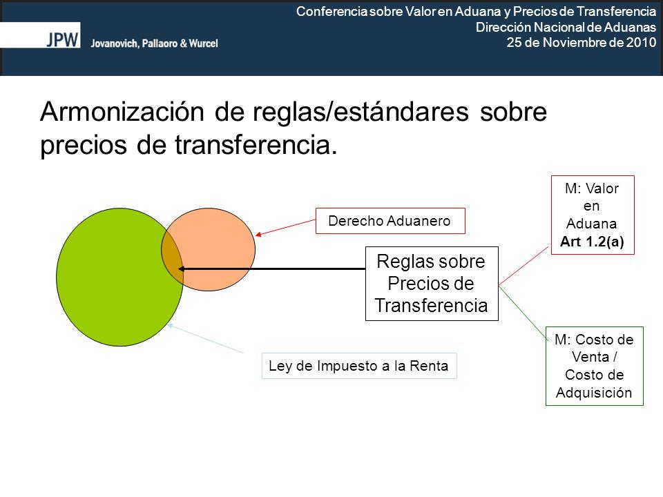 Conferencia sobre Valor en Aduana y Precios de Transferencia Dirección Nacional de Aduanas 25 de Noviembre de 2010 Armonización de reglas/estándares s