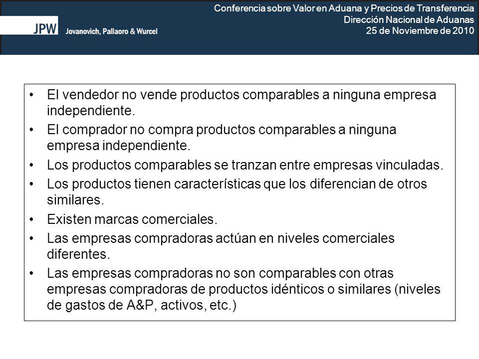 Conferencia sobre Valor en Aduana y Precios de Transferencia Dirección Nacional de Aduanas 25 de Noviembre de 2010 El vendedor no vende productos comp