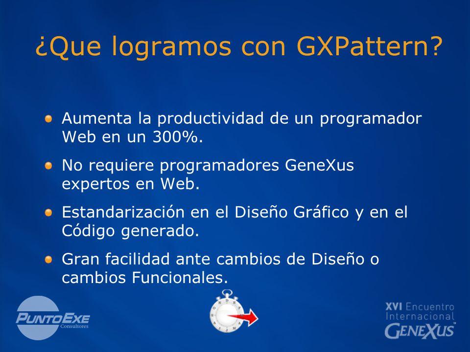 ¿Que logramos con GXPattern. Aumenta la productividad de un programador Web en un 300%.