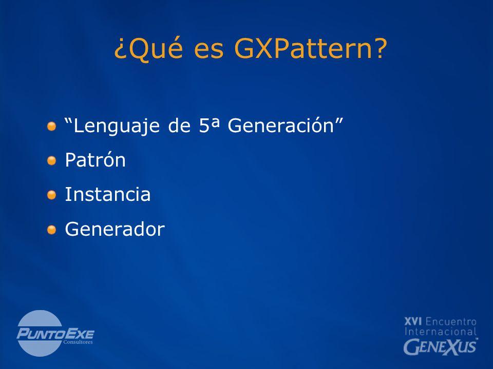 ¿Qué es GXPattern Lenguaje de 5ª Generación Patrón Instancia Generador
