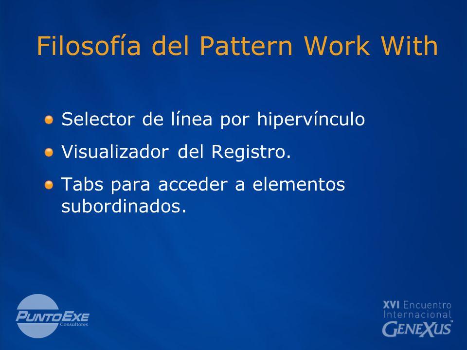 Filosofía del Pattern Work With Selector de línea por hipervínculo Visualizador del Registro.