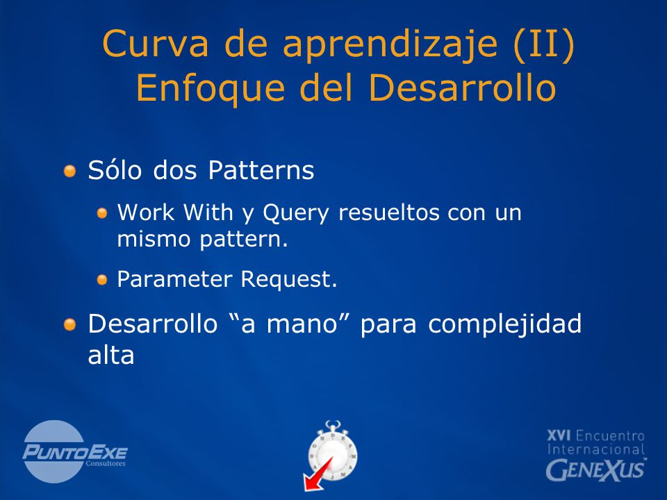 Curva de aprendizaje (II) Enfoque del Desarrollo Sólo dos Patterns Work With y Query resueltos con un mismo pattern.
