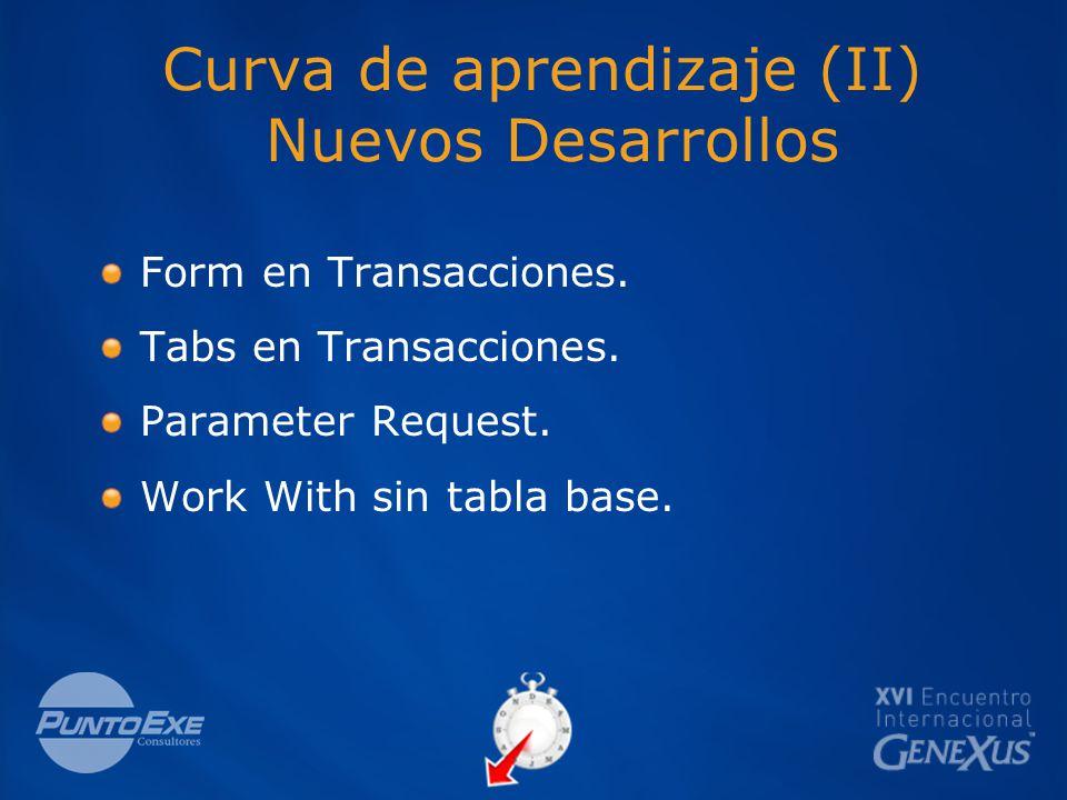 Curva de aprendizaje (II) Nuevos Desarrollos Form en Transacciones.