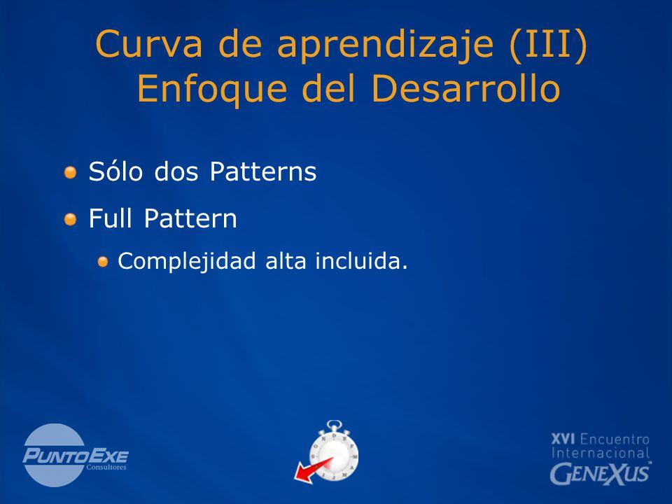 Curva de aprendizaje (III) Enfoque del Desarrollo Sólo dos Patterns Full Pattern Complejidad alta incluida.