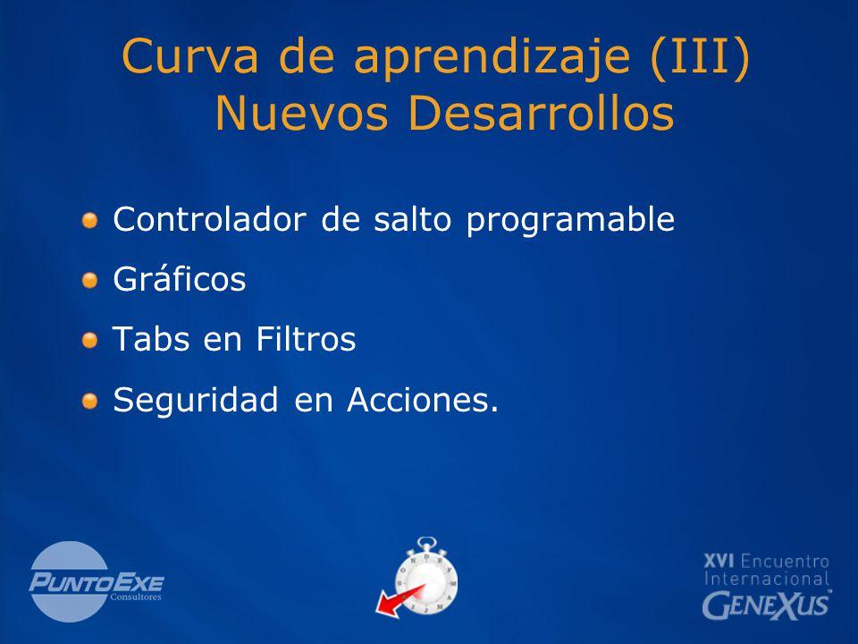 Curva de aprendizaje (III) Nuevos Desarrollos Controlador de salto programable Gráficos Tabs en Filtros Seguridad en Acciones.