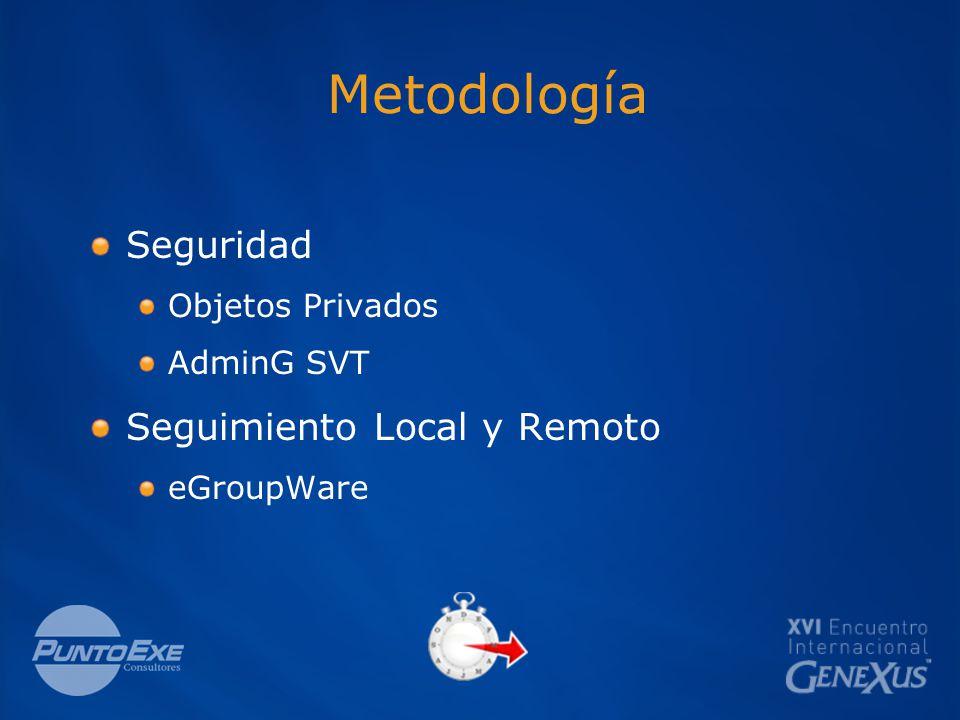 Metodología Seguridad Objetos Privados AdminG SVT Seguimiento Local y Remoto eGroupWare