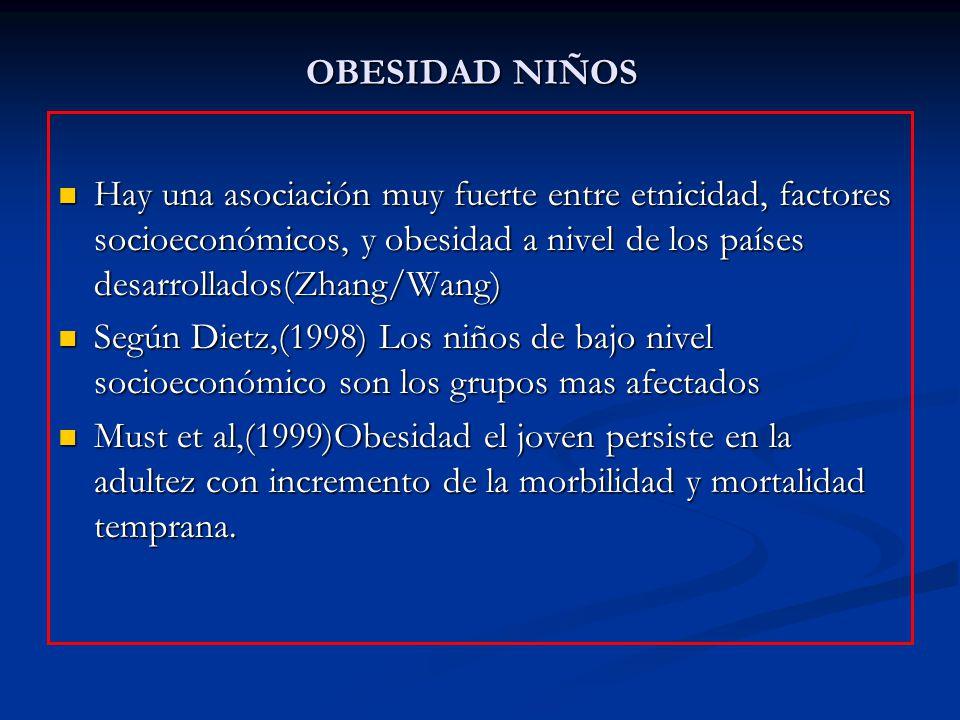 OBESIDAD NIÑOS Hay una asociación muy fuerte entre etnicidad, factores socioeconómicos, y obesidad a nivel de los países desarrollados(Zhang/Wang) Hay