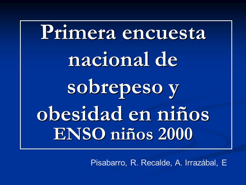 Primera encuesta nacional de sobrepeso y obesidad en niños ENSO niños 2000 Pisabarro, R. Recalde, A. Irrazábal, E