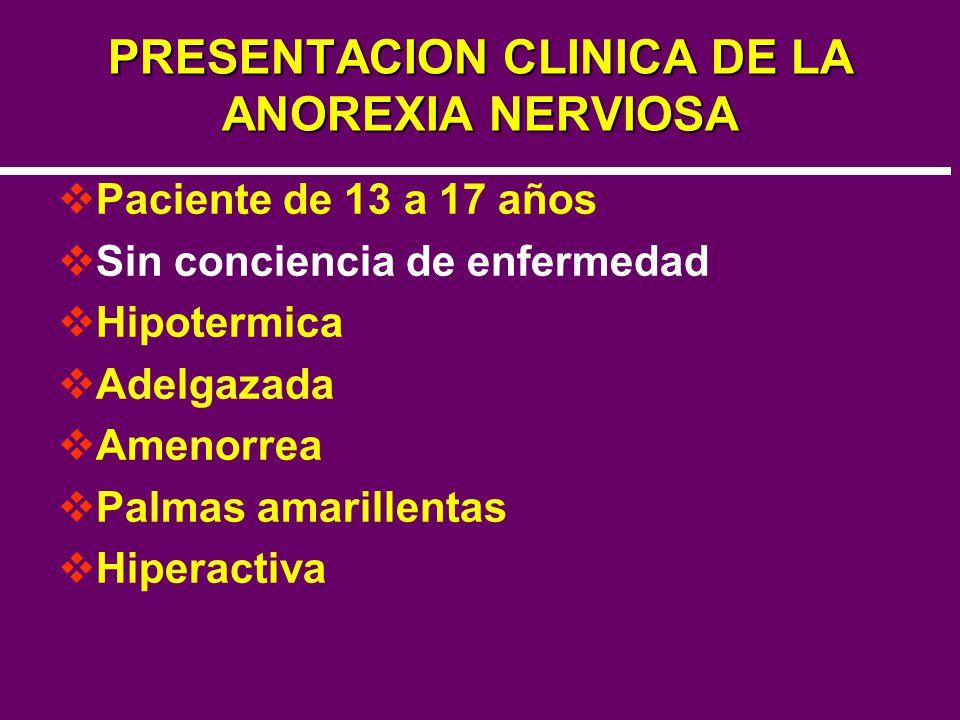 PRESENTACION CLINICA DE LA ANOREXIA NERVIOSA Paciente de 13 a 17 años Sin conciencia de enfermedad Hipotermica Adelgazada Amenorrea Palmas amarillenta
