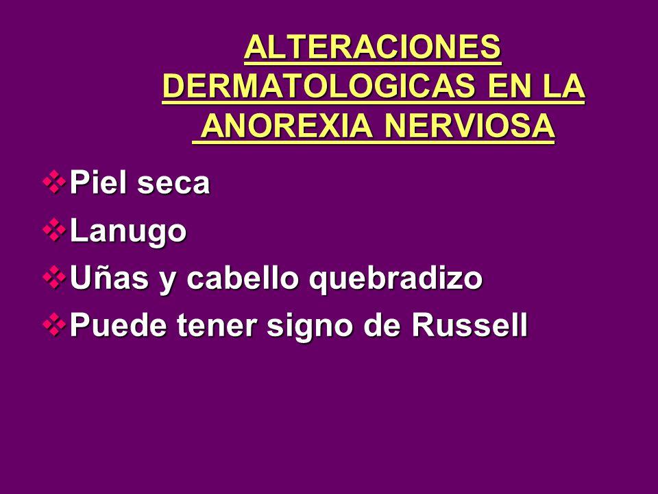 ALTERACIONES DERMATOLOGICAS EN LA ANOREXIA NERVIOSA Piel seca Piel seca Lanugo Lanugo Uñas y cabello quebradizo Uñas y cabello quebradizo Puede tener signo de Russell Puede tener signo de Russell