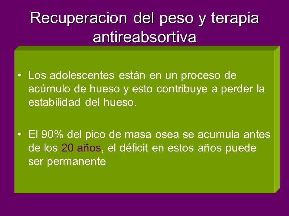 Recuperacion del peso y terapia antireabsortiva Los adolescentes están en un proceso de acúmulo de hueso y esto contribuye a perder la estabilidad del hueso.