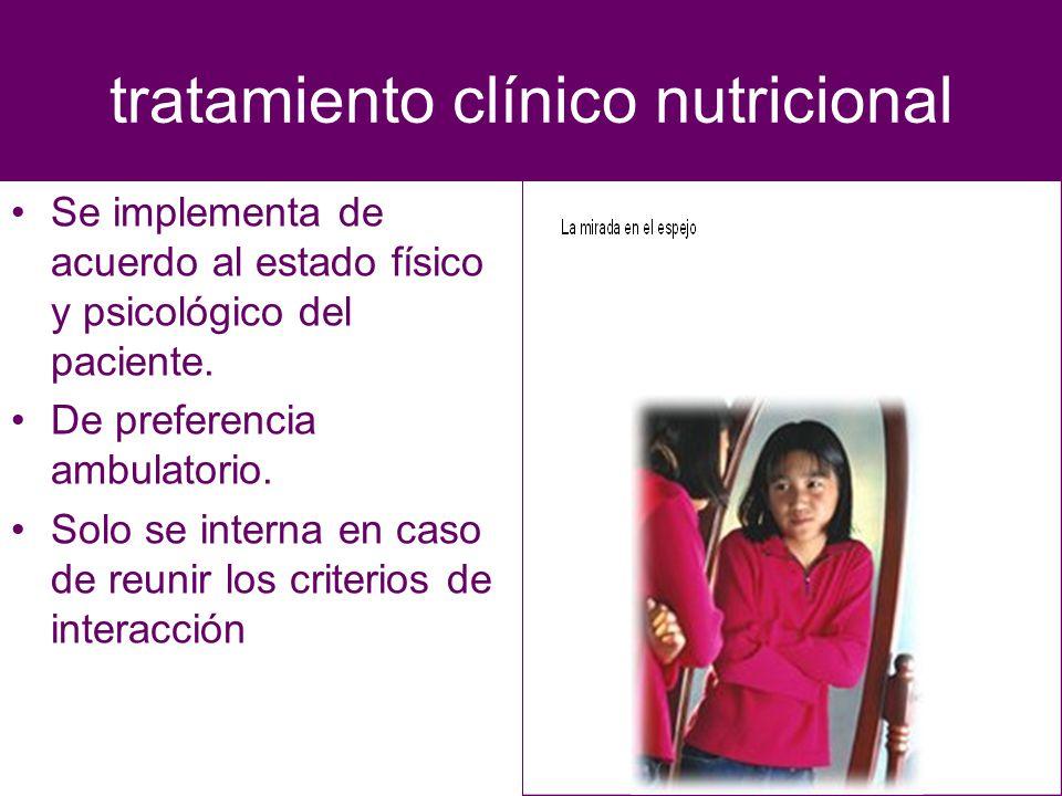 tratamiento clínico nutricional Se implementa de acuerdo al estado físico y psicológico del paciente. De preferencia ambulatorio. Solo se interna en c