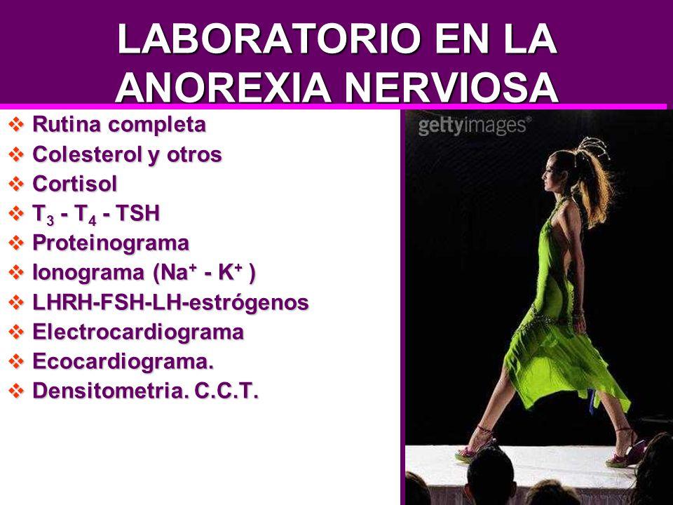 LABORATORIO EN LA ANOREXIA NERVIOSA Rutina completa Rutina completa Colesterol y otros Colesterol y otros Cortisol Cortisol T 3 - T 4 - TSH T 3 - T 4
