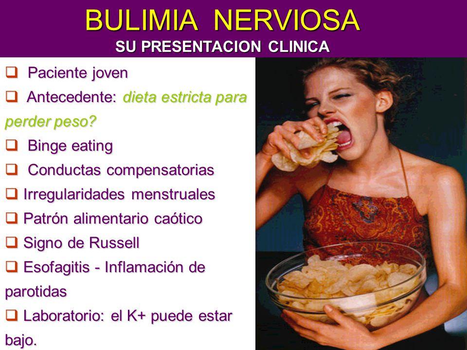 Paciente joven Paciente joven Antecedente: dieta estricta para perder peso? Antecedente: dieta estricta para perder peso? Binge eating Binge eating Co