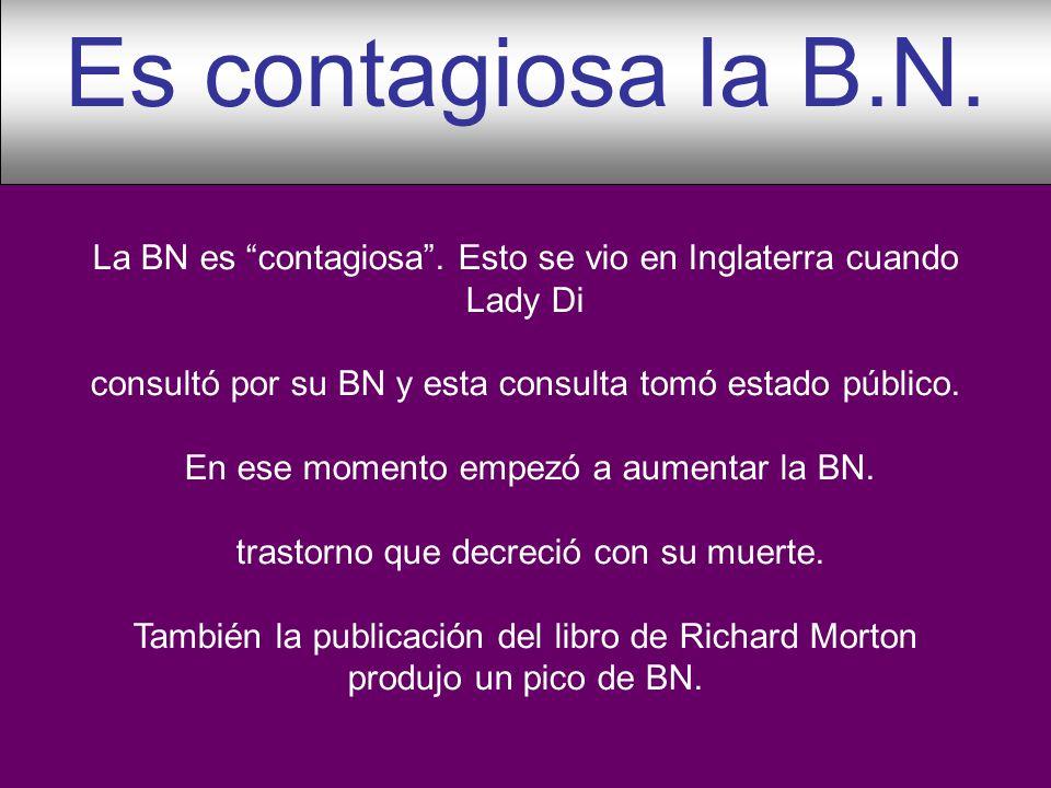 La BN es contagiosa. Esto se vio en Inglaterra cuando Lady Di consultó por su BN y esta consulta tomó estado público. En ese momento empezó a aumentar