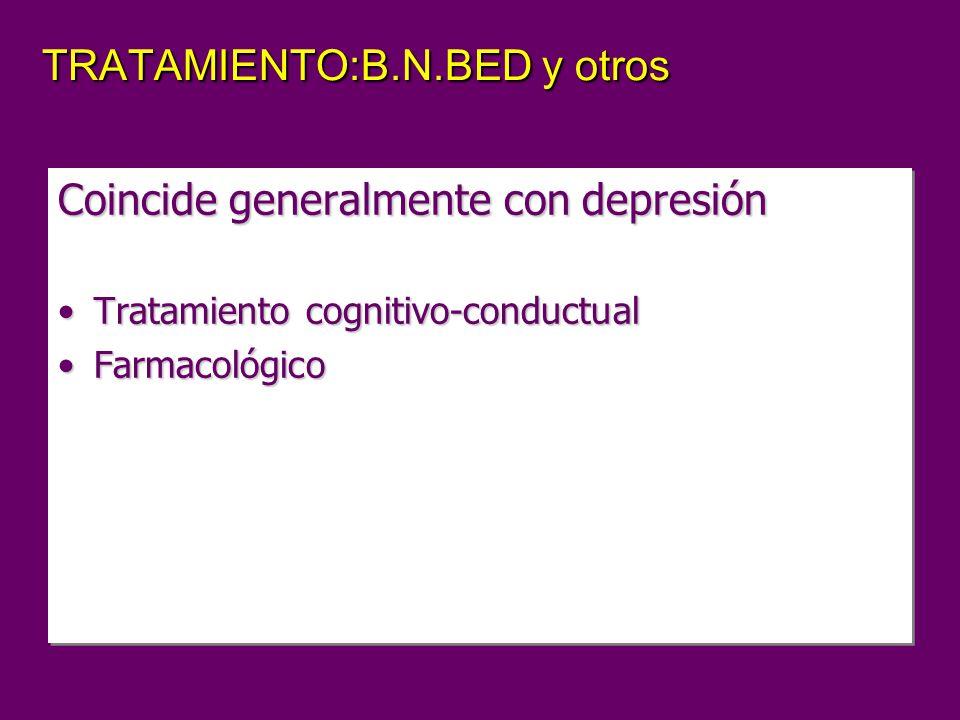 TRATAMIENTO:B.N.BED y otros Coincide generalmente con depresión Tratamiento cognitivo-conductualTratamiento cognitivo-conductual FarmacológicoFarmacológico Coincide generalmente con depresión Tratamiento cognitivo-conductualTratamiento cognitivo-conductual FarmacológicoFarmacológico
