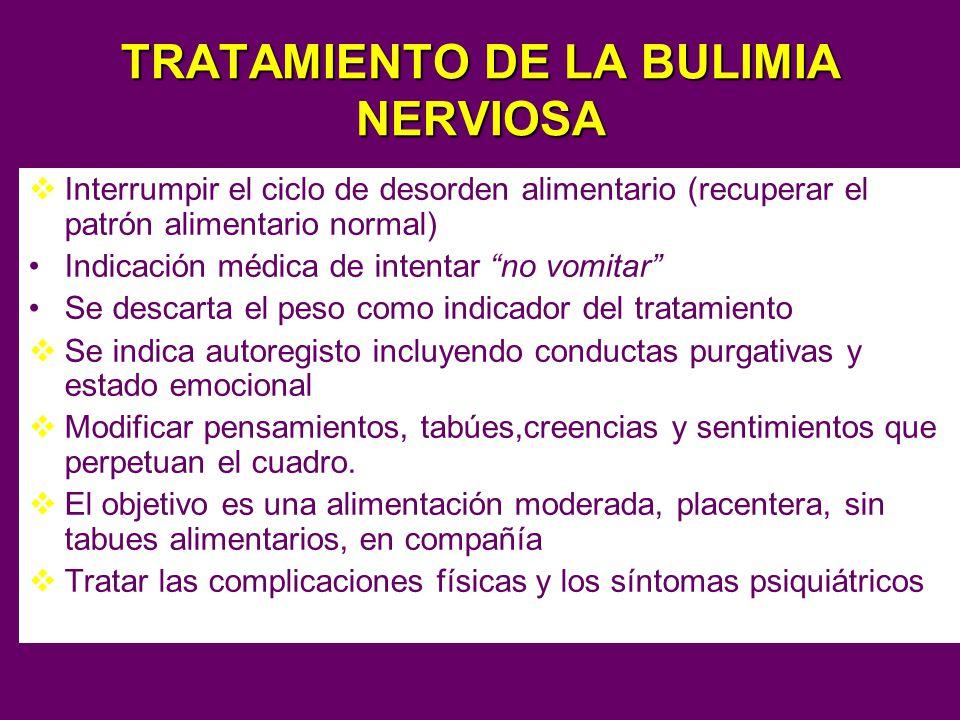 TRATAMIENTO DE LA BULIMIA NERVIOSA Interrumpir el ciclo de desorden alimentario (recuperar el patrón alimentario normal) Indicación médica de intentar