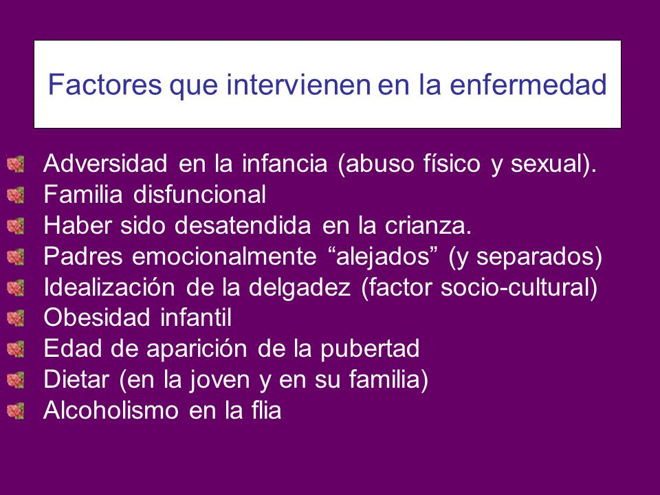 Adversidad en la infancia (abuso físico y sexual). Familia disfuncional Haber sido desatendida en la crianza. Padres emocionalmente alejados (y separa