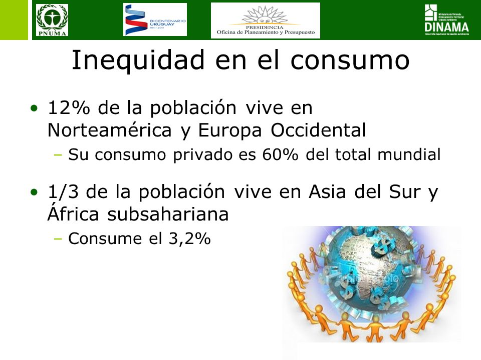 16 Inequidad en el consumo 12% de la población vive en Norteamérica y Europa Occidental –Su consumo privado es 60% del total mundial 1/3 de la población vive en Asia del Sur y África subsahariana –Consume el 3,2%