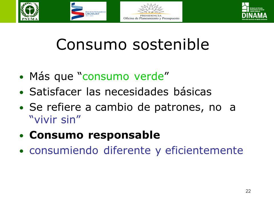 22 Consumo sostenible Más que consumo verde Satisfacer las necesidades básicas Se refiere a cambio de patrones, no a vivir sin Consumo responsable consumiendo diferente y eficientemente
