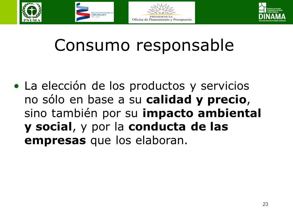 23 Consumo responsable La elección de los productos y servicios no sólo en base a su calidad y precio, sino también por su impacto ambiental y social, y por la conducta de las empresas que los elaboran.