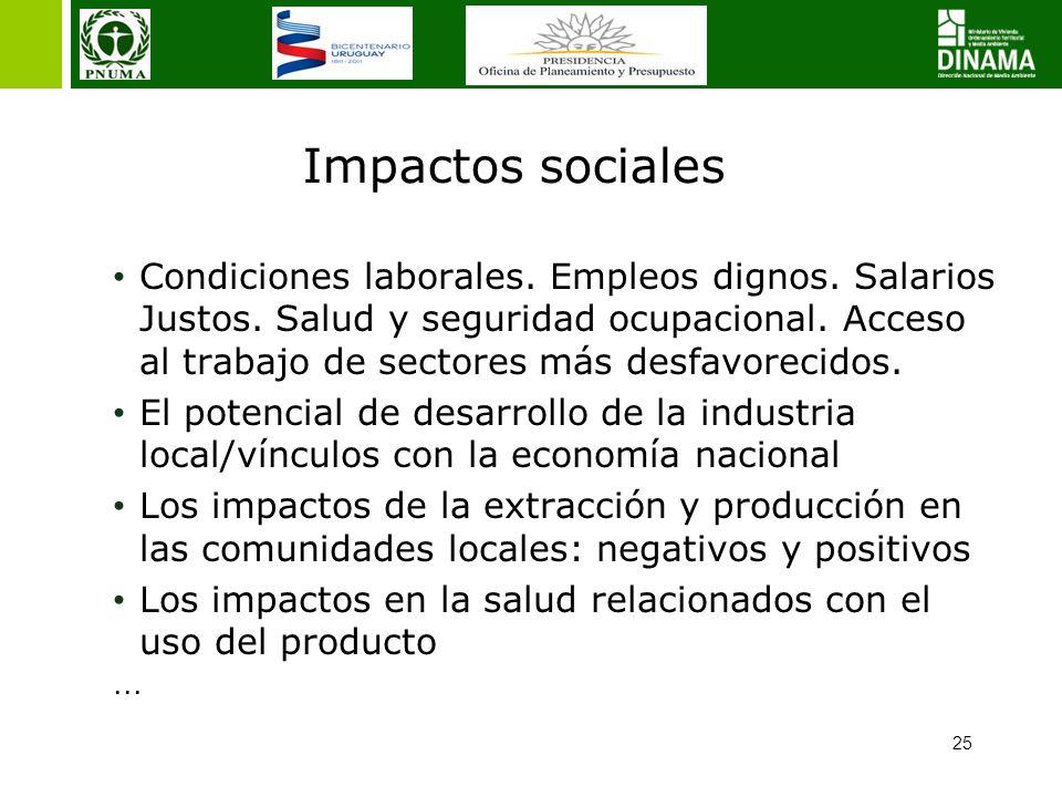 25 Impactos sociales Condiciones laborales. Empleos dignos. Salarios Justos. Salud y seguridad ocupacional. Acceso al trabajo de sectores más desfavor
