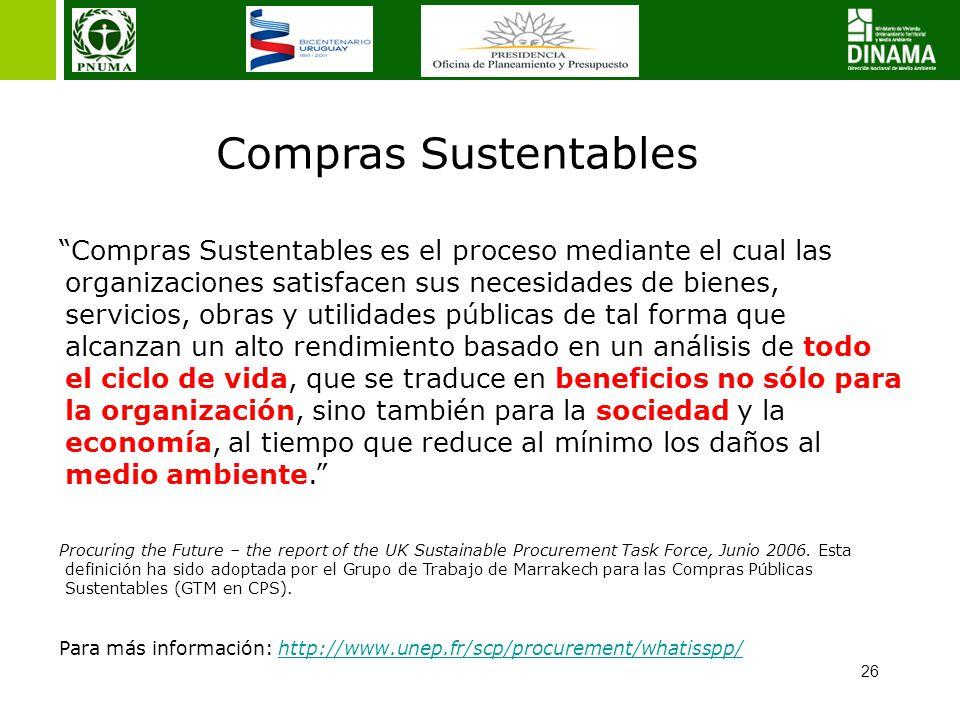 26 Compras Sustentables Compras Sustentables es el proceso mediante el cual las organizaciones satisfacen sus necesidades de bienes, servicios, obras