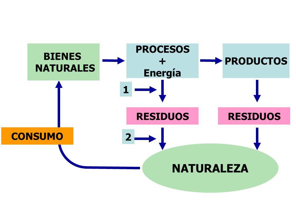 BIENES NATURALES PROCESOS + Energía PRODUCTOS RESIDUOS NATURALEZA CONSUMO 1 2