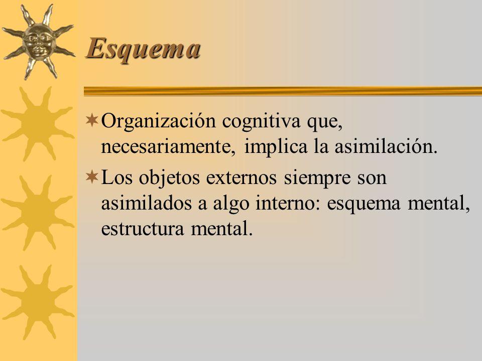 Esquema Organización cognitiva que, necesariamente, implica la asimilación. Los objetos externos siempre son asimilados a algo interno: esquema mental