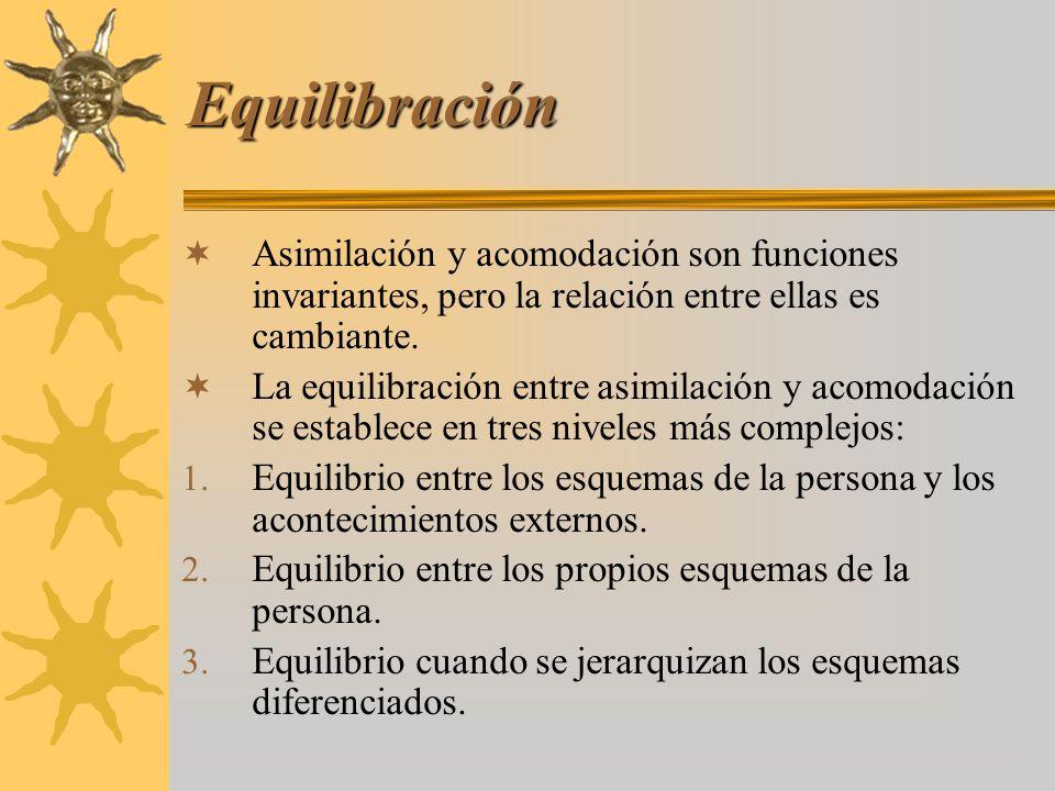 Equilibración Asimilación y acomodación son funciones invariantes, pero la relación entre ellas es cambiante. La equilibración entre asimilación y aco