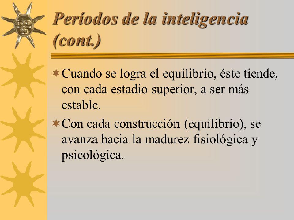Períodos de la inteligencia (cont.) Cuando se logra el equilibrio, éste tiende, con cada estadio superior, a ser más estable. Con cada construcción (e