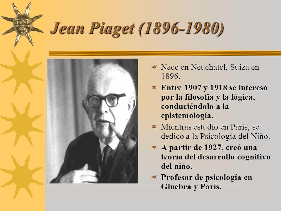 Jean Piaget (1896-1980) Nace en Neuchatel, Suiza en 1896. Entre 1907 y 1918 se interesó por la filosofía y la lógica, conduciéndolo a la epistemología