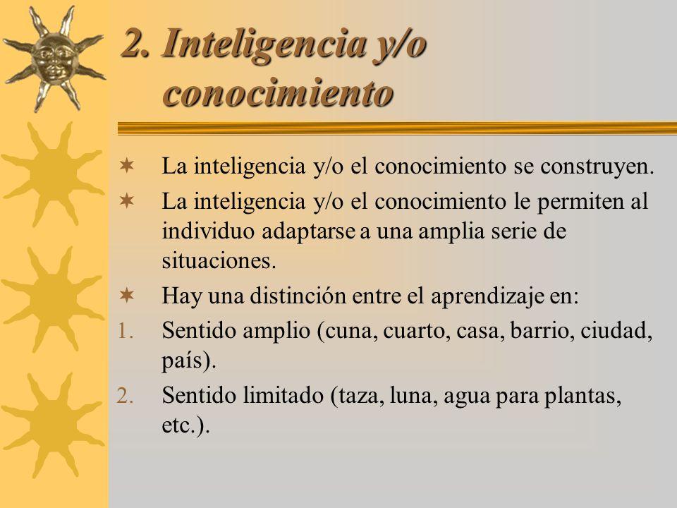 2. Inteligencia y/o conocimiento La inteligencia y/o el conocimiento se construyen. La inteligencia y/o el conocimiento le permiten al individuo adapt