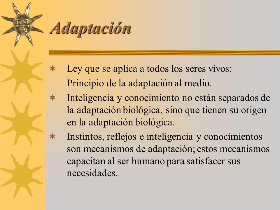 Adaptación Ley que se aplica a todos los seres vivos: Principio de la adaptación al medio. Inteligencia y conocimiento no están separados de la adapta