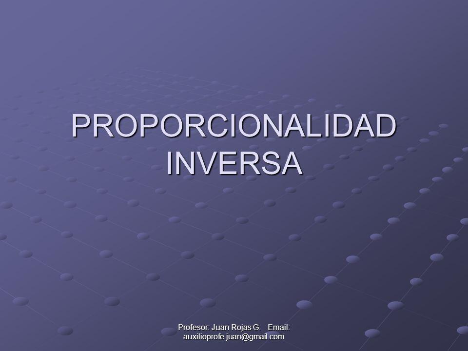 Profesor: Juan Rojas G. Email: auxilioprofe.juan@gmail.com PROPORCIONALIDAD INVERSA
