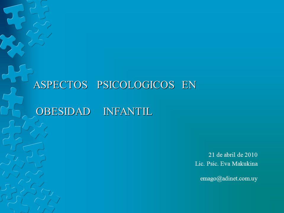 ASPECTOS PSICOLOGICOS EN OBESIDAD INFANTIL 21 de abril de 2010 Lic. Psic. Eva Makukina emago@adinet.com.uy