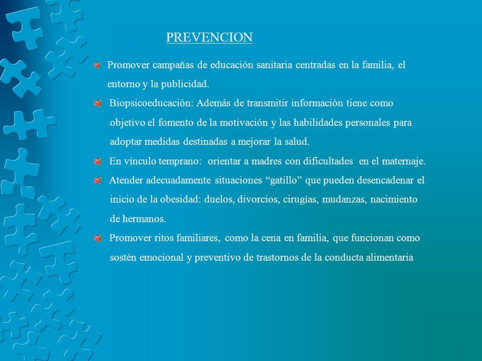 PREVENCION Promover campañas de educación sanitaria centradas en la familia, el entorno y la publicidad. Biopsicoeducación: Además de transmitir infor
