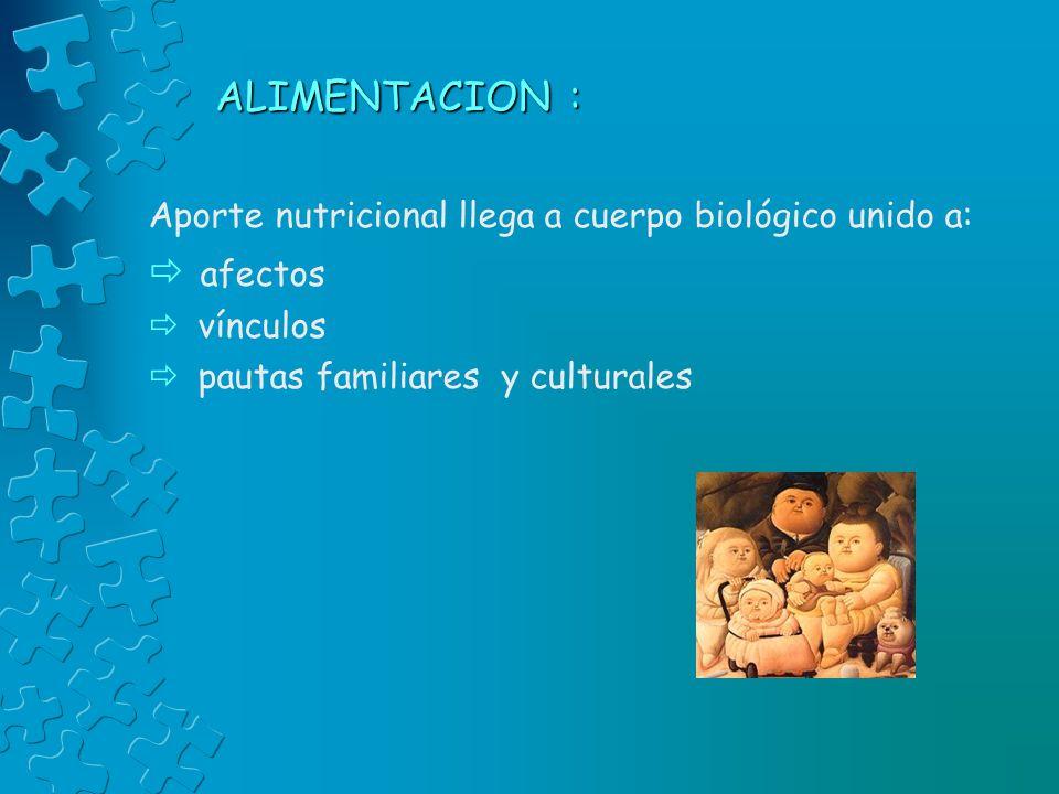 ALIMENTACION : Aporte nutricional llega a cuerpo biológico unido a: afectos vínculos pautas familiares y culturales