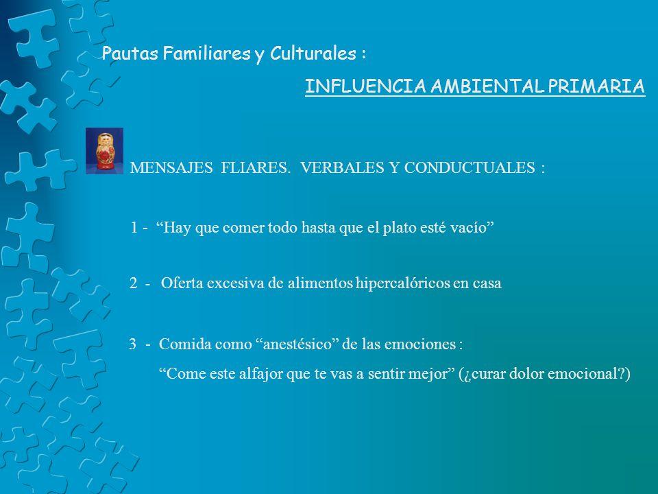 Pautas Familiares y Culturales : INFLUENCIA AMBIENTAL PRIMARIA MENSAJES FLIARES. VERBALES Y CONDUCTUALES : 1 - Hay que comer todo hasta que el plato e