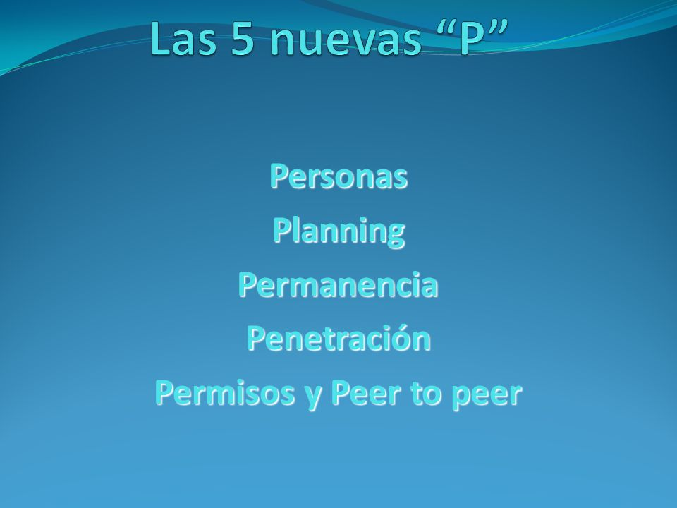 PersonasPlanningPermanenciaPenetración Permisos y Peer to peer