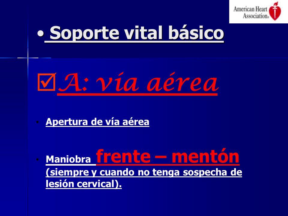 Soporte vital básico Soporte vital básico A: vía aérea Apertura de vía aérea Maniobra frente – mentón (siempre y cuando no tenga sospecha de lesión cervical).