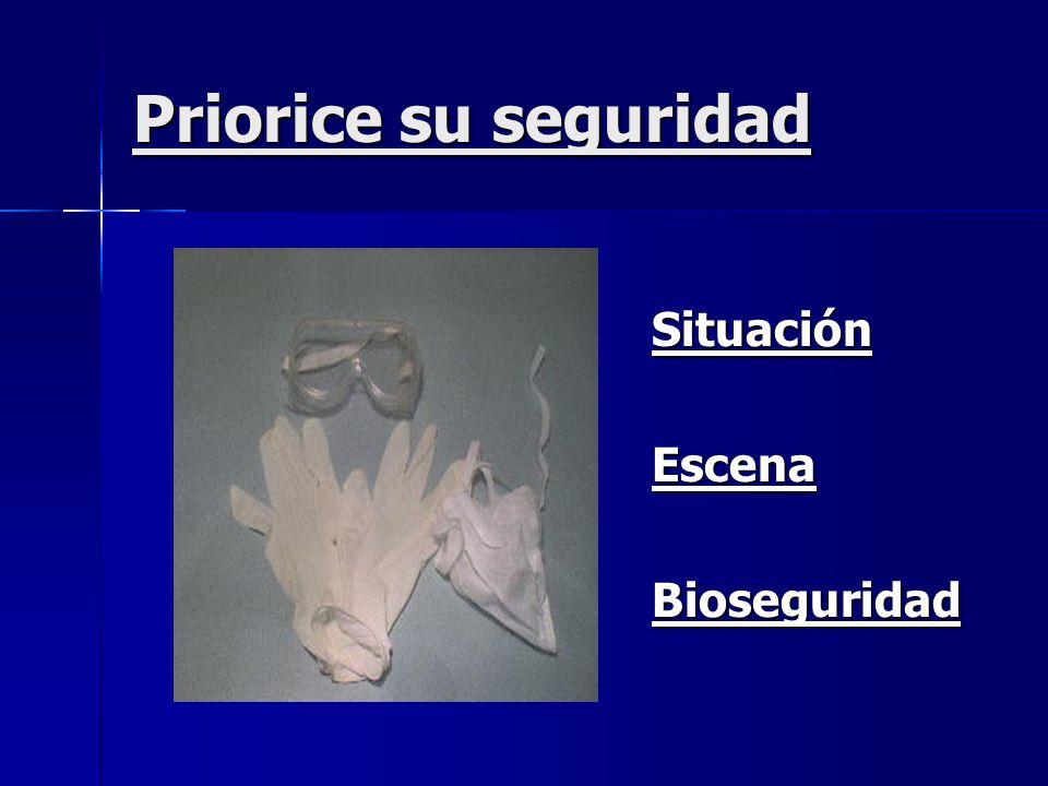 Priorice su seguridad Situación Situación Escena Escena Bioseguridad Bioseguridad