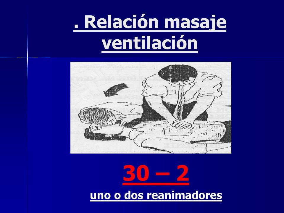 . Relación masaje ventilación 30 – 2 uno o dos reanimadores