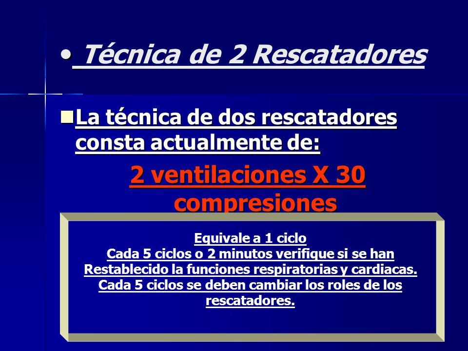 Técnica de 2 Rescatadores La técnica de dos rescatadores consta actualmente de: La técnica de dos rescatadores consta actualmente de: 2 ventilaciones X 30 compresiones Equivale a 1 ciclo Cada 5 ciclos o 2 minutos verifique si se han Restablecido la funciones respiratorias y cardiacas.