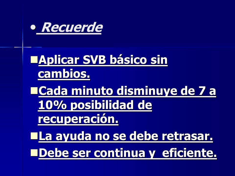 Recuerde Aplicar SVB básico sin cambios. Aplicar SVB básico sin cambios. Cada minuto disminuye de 7 a 10% posibilidad de recuperación. Cada minuto dis