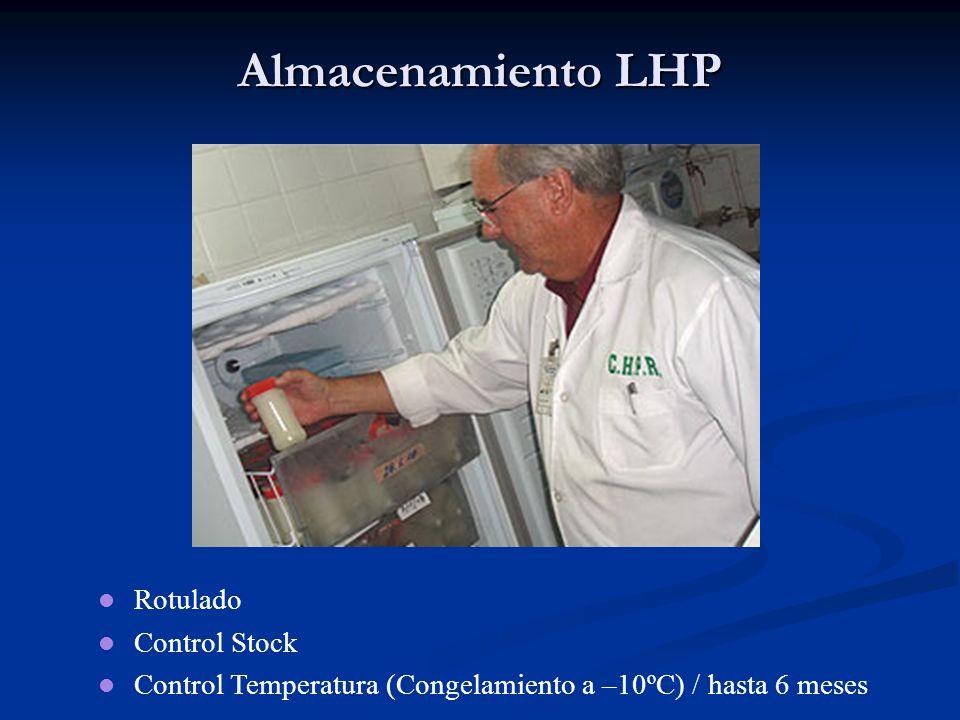 Almacenamiento LHP Rotulado Control Stock Control Temperatura (Congelamiento a –10ºC) / hasta 6 meses