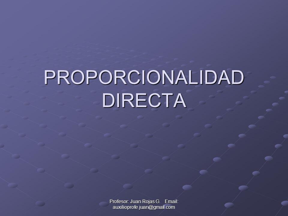 Profesor: Juan Rojas G. Email: auxilioprofe.juan@gmail.com PROPORCIONALIDAD DIRECTA