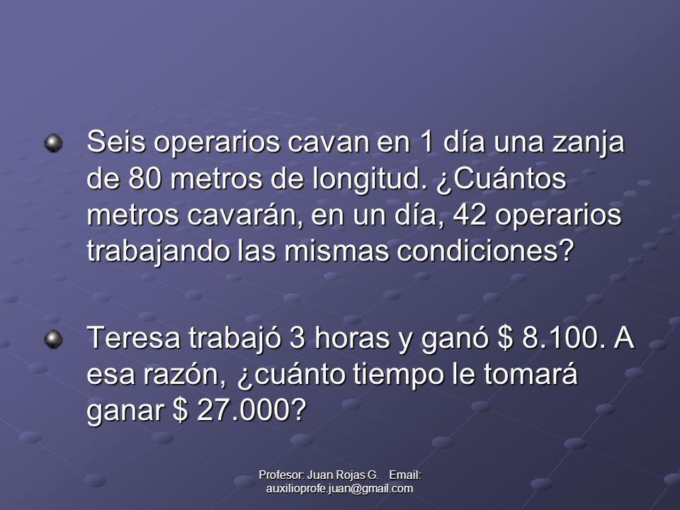 Profesor: Juan Rojas G. Email: auxilioprofe.juan@gmail.com Seis operarios cavan en 1 día una zanja de 80 metros de longitud. ¿Cuántos metros cavarán,