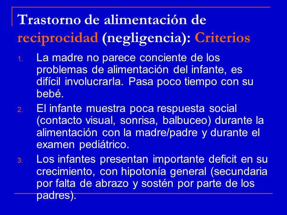 Trastorno de alimentación de reciprocidad (negligencia): Criterios 1.