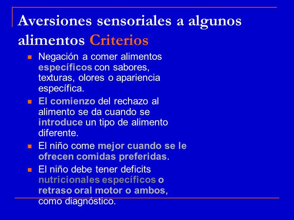 Aversiones sensoriales a algunos alimentos Criterios Negación a comer alimentos específicos con sabores, texturas, olores o apariencia específica.